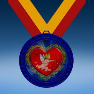 Cupid Blue Colored Insert Medal