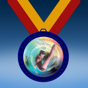 Diving Female Blue Colored Insert Medal