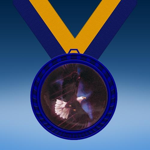 Eagle Blue Colored Insert Medal