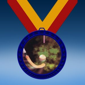 Field Hockey Blue Colored Insert Medal