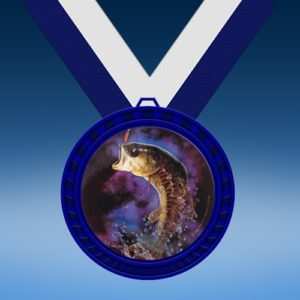 Fishing Blue Colored Insert Medal