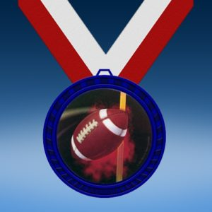 Football 1 Blue Colored Insert Medal