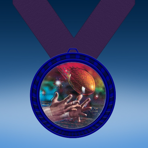 Football 2 Blue Colored Insert Medal