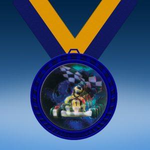 Go Kart Blue Colored Insert Medal