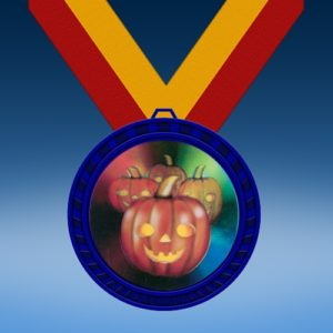 Halloween Blue Colored Insert Medal