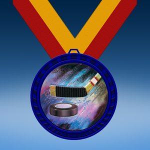 Hockey Blue Colored Insert Medal