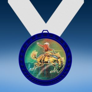 Horse Riding Blue Colored Insert Medal