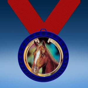 Horse Blue Colored Insert Medal