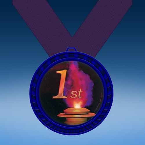 1st Place Blue Colored Insert Medal
