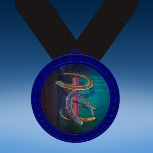 Horse Shoes Blue Colored Insert Medal