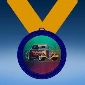 Hot Rod Blue Colored Insert Medal