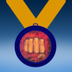 Karate Blue Colored Insert Medal