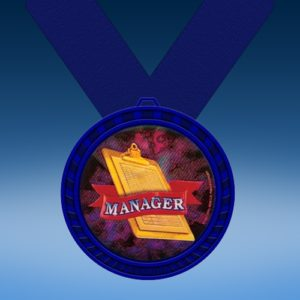 Manager Blue Colored Insert Medal