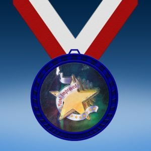 Most Improved Blue Colored Insert Medal