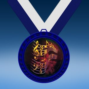 Music 1 Blue Colored Insert Medal