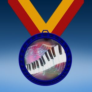 Music 2 Blue Colored Insert Medal