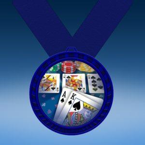 Poker Blue Colored Insert Medal