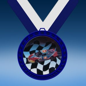 Racing Blue Colored Insert Medal