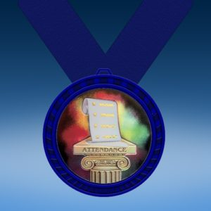 Attendance Blue Colored Insert Medal