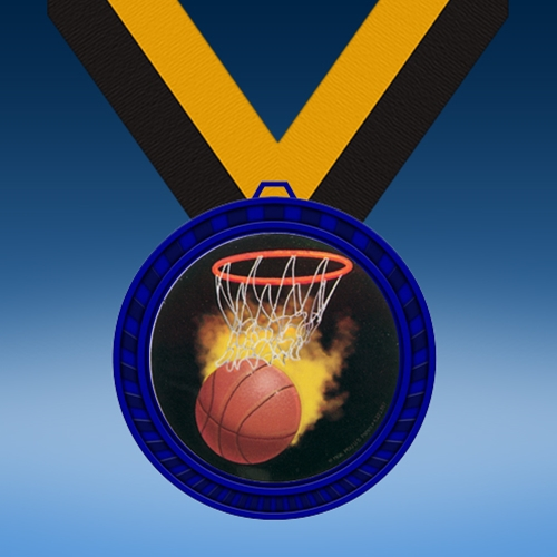 Basketball 1 Blue Colored Insert Medal
