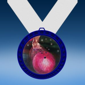 Bowling 2 Blue Colored Insert Medal