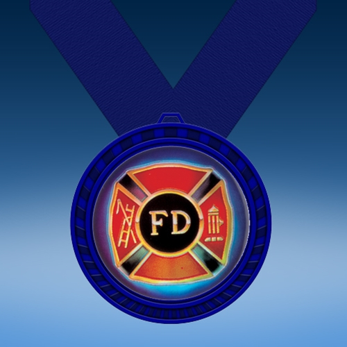 Fire Department Blue Colored Insert Medal