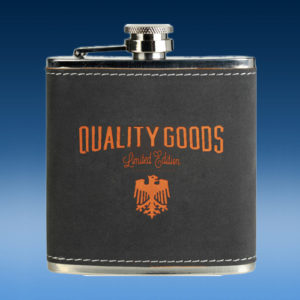 Dark Gray Leather Flask-0