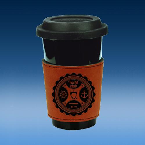 Rawhide Leatherette Mug Sleeve Beverage Holder