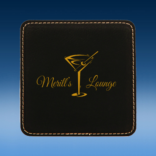 Black Square Leather Coaster Set