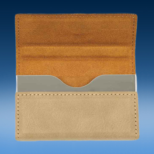 Light Brown Leatherette Hard Business Card Holder (Open View)