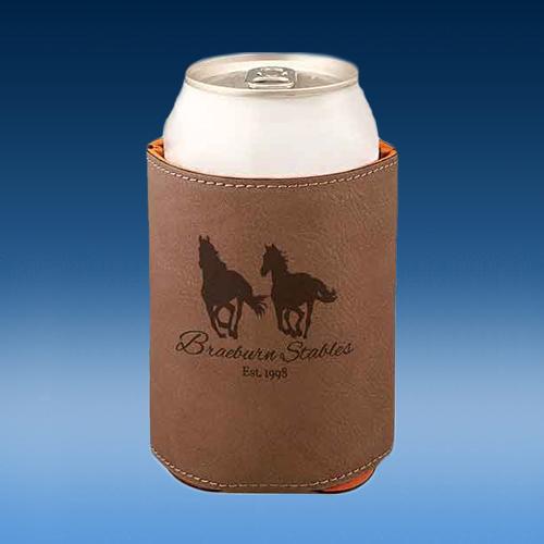 Dark Brown Leatherette Full Bottom Beverage Holder